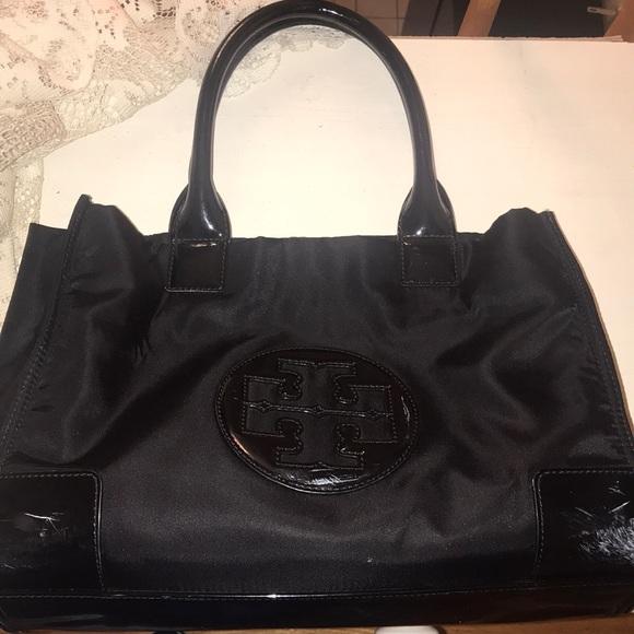 53254084e3 Tory Burch Bags | Ella Nylon Leather Mini Tote Used | Poshmark